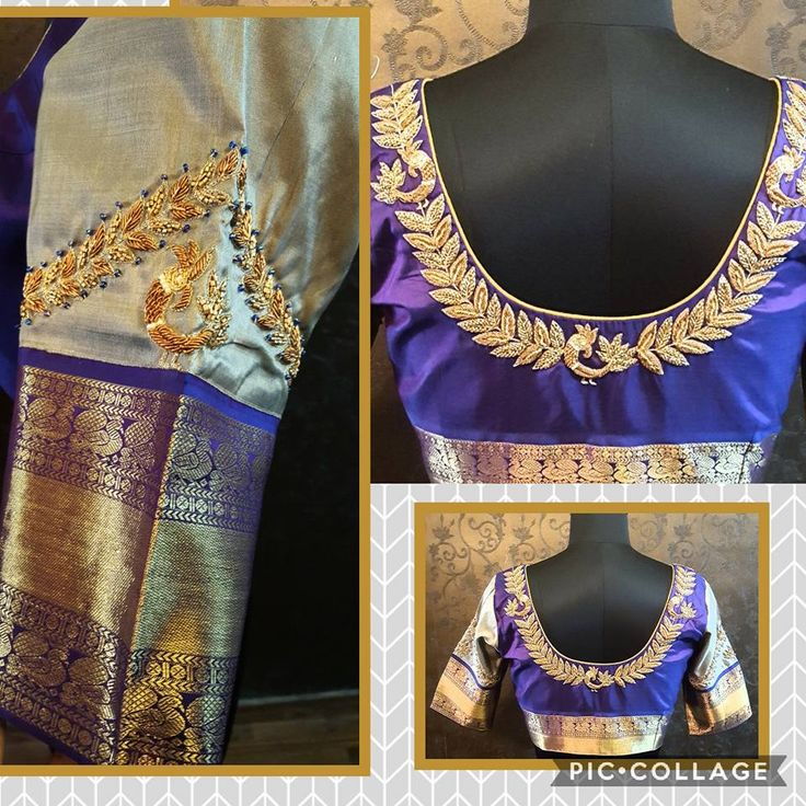 Beautiful bridal designer blouse with banaras sleeves and peacock design hand embroidery gold thread work. 21 July 2017