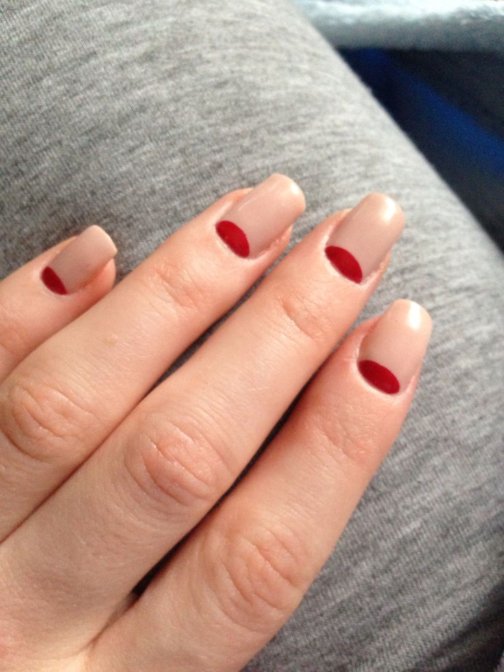 Love my nails) nude with a red twist