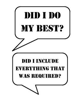 These are great to hang on your classroom wall to serve as a checklist to students before they turn in their work.  They look great if you have access to a poster maker (to enlarge them) or copy them on colored paper!