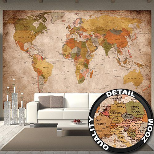New Fototapete used look Wandbild Dekoration Globus Kontinente Atlas Weltkarte retro old school vintage map Weltkugel Geografie