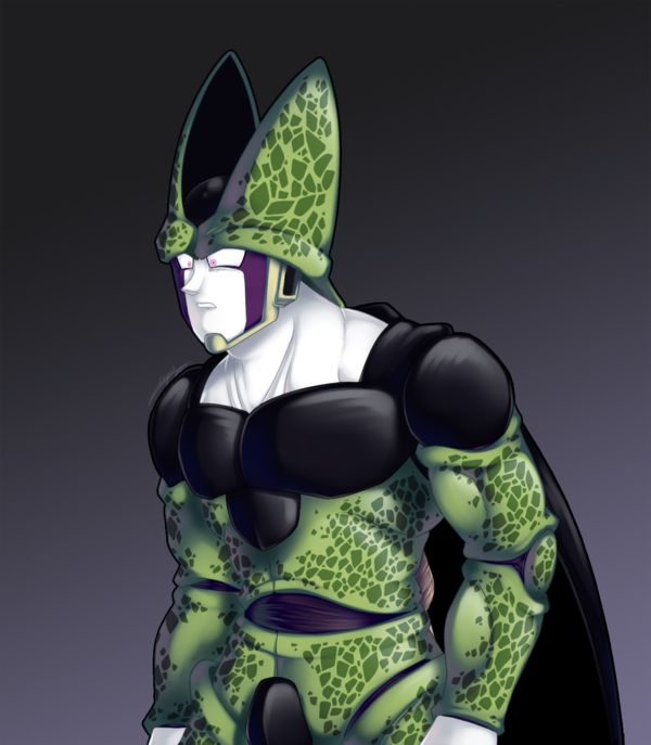 "Oh hey, fan art of Cell, that's so strange from my part. This was part of some kind of test, since i see him always on a proud mode or fighting, i was just wondering ""what about if i try something ..."