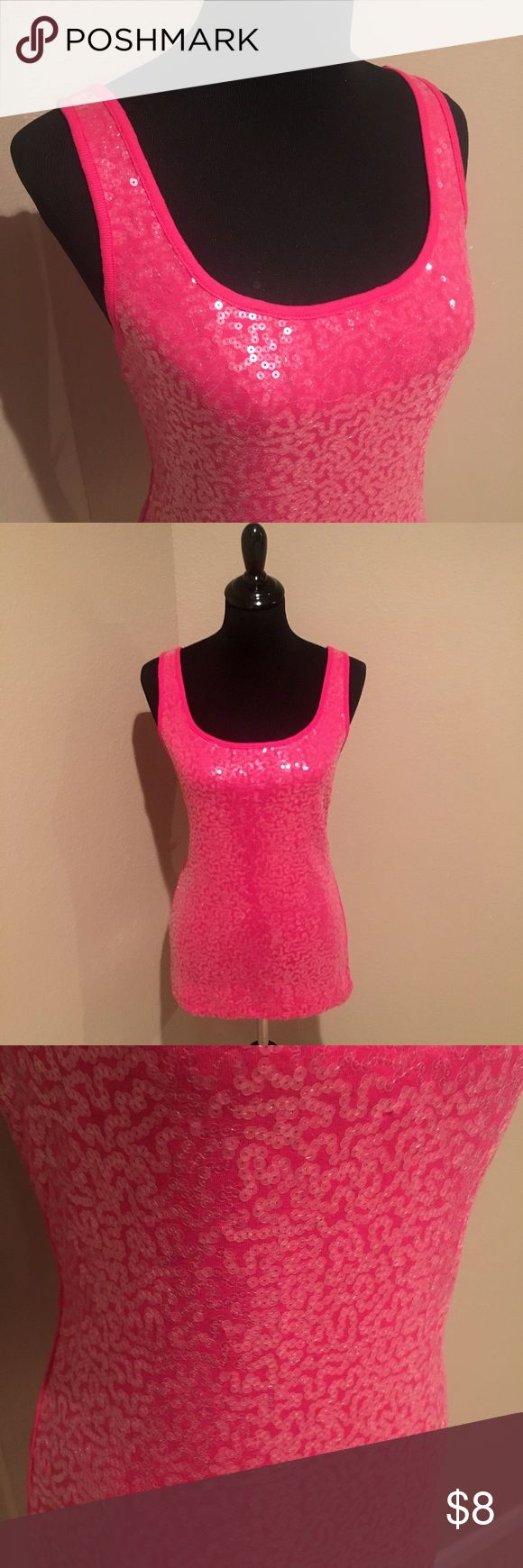 NWOT pink sequin tank top NWOT pink tank top with sequins all over front. Back is plain cotton. Scoop neck. Never worn. Super hot with jeans and heels for a night out😍 Old Navy Tops Tank Tops