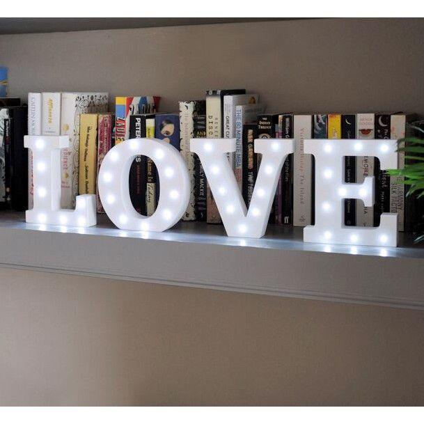 """Buchstaben Lampen """"LIGHTS"""", Holzbuchstaben mit LED Lichtern, A-Y wählbar, 16 cm hoch, von Yesbox"""