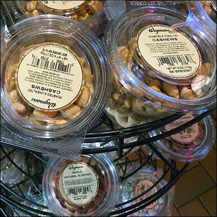 Small packages and placement near both beer and buffet, make this All-Wire Spinner Rack and Nuts-To-Go offering a merchandising success. Cashews, Almonds, Nut Assortments, and Yogurt-Covered Raisin…