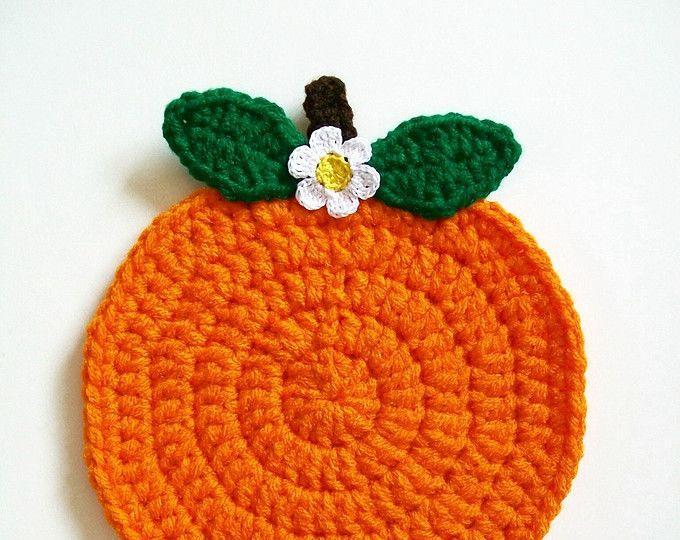 Ganchillo a naranja fruta tomaollas país cocina decoración hecha a mano agarradera caliente Pad soporte mesa decoración utensilios de cocina decoración de la pared