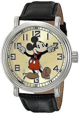 Unisex Wrist Watch Disney Mens Vintage Mickey Mouse Black Leather Band Quartz
