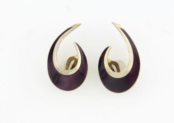 Hans Myhre Purple Enamel Mid Century Modern Sterling Silver Boomerang Earrings  #HansMyhre