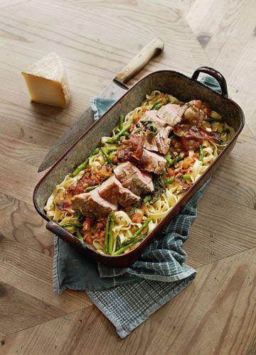 Rezept: Nudeln mit Spargel und Schweinefilet - Das Kochquartett