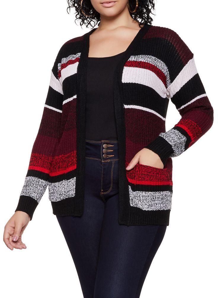 Plus Size Striped Knit Two Pocket Cardigan – Multi – Size 3X