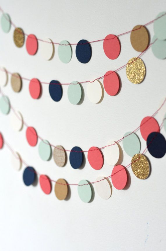 Navy Mint Gold Coral and Cream Confetti by thePathLessTraveled