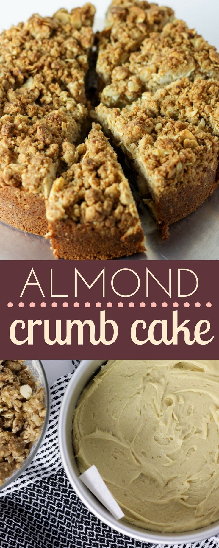 #Almond Crumb Coffee Cake that will go perfectly with your morning cup! #breakfast #cake
