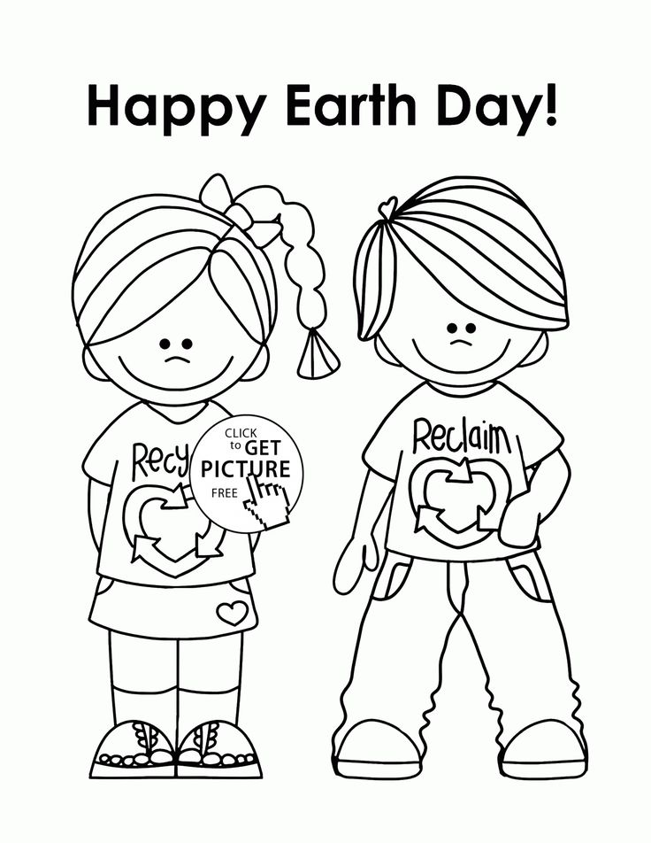 Happy Kids Earth Day coloring page for kids, coloring