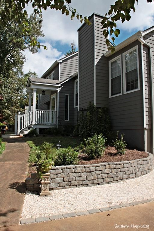 DIY retaining wall to add great curb appeal.