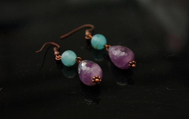 Amethyst and Aqua Copper Earrings