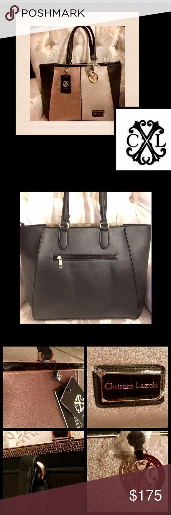 Spotted while shopping on Poshmark: 🆕Christian Lacroix🌹Black/GoldLeather SabrinaTote! #poshmark #fashion #shopping #style #Christian Lacroix #Handbags