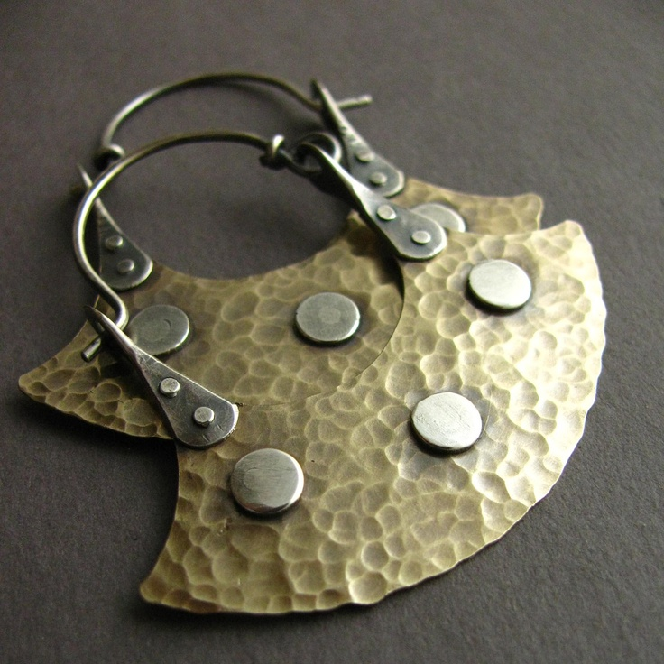 Earrings | Dante and Sabrina Acevedo ~ Sun Tribe Designs. Bronze and sterling silver.