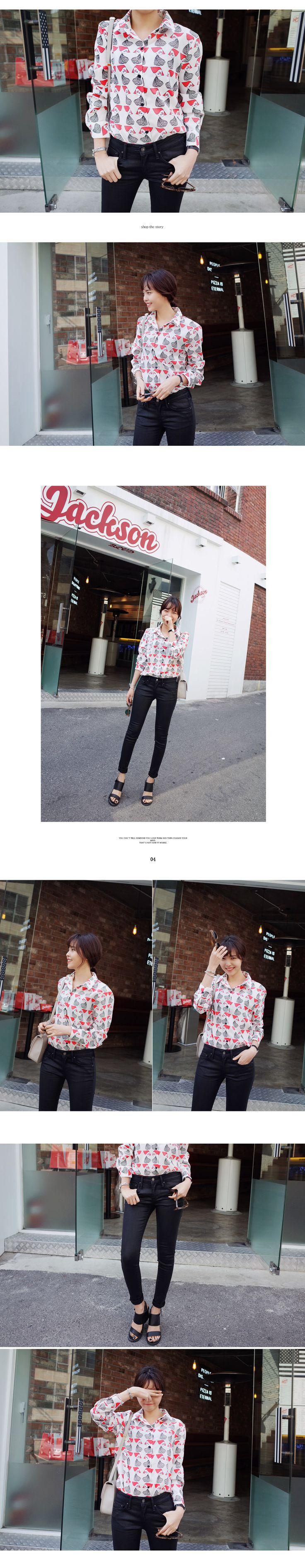 ユニーク柄コットンシャツ・全2色シャツ・ブラウスシャツ|レディースファッション通販 DHOLICディーホリック [ファストファッション 水着 ワンピース]
