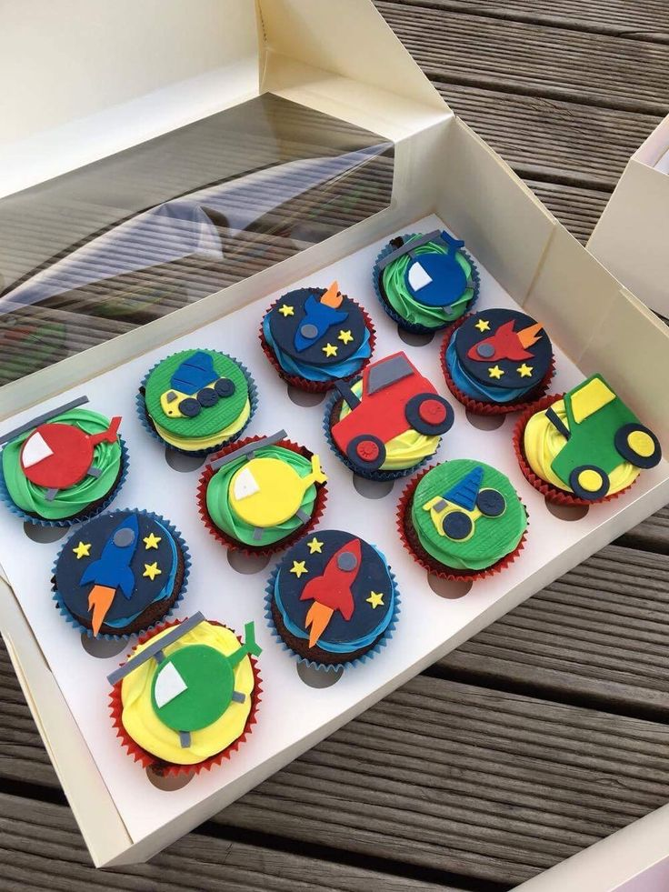 Transport cupcakes! Rocket / Space ship, helicopter, tractor and truck cupcakes!  Check out my page https://www.facebook.com/frosted.cupcakes.invercargill/