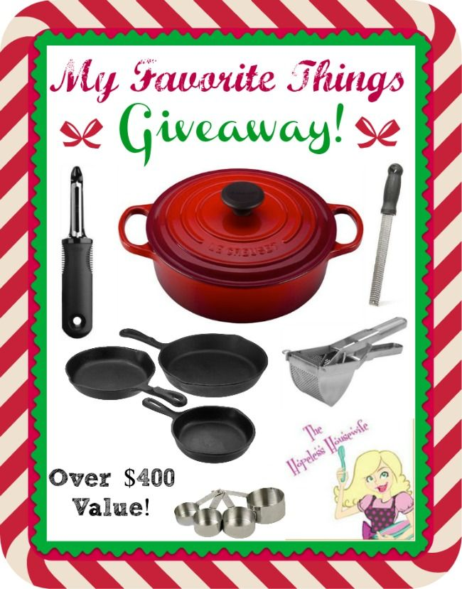 http://www.thehopelesshousewife.com/big-le-creuset-favorite-things-giveaway-435-value/#.UptjfsRDtQU