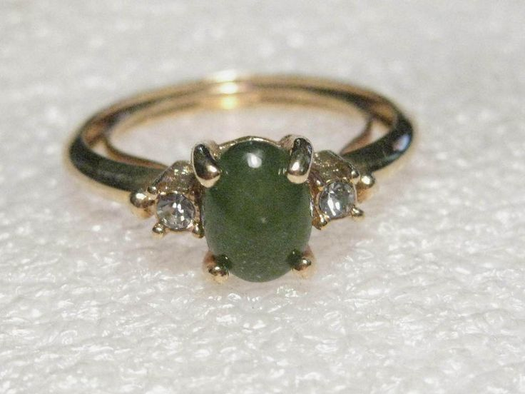 Vintage Avon Faux Jade Ring With Clear Stones Gold Tone