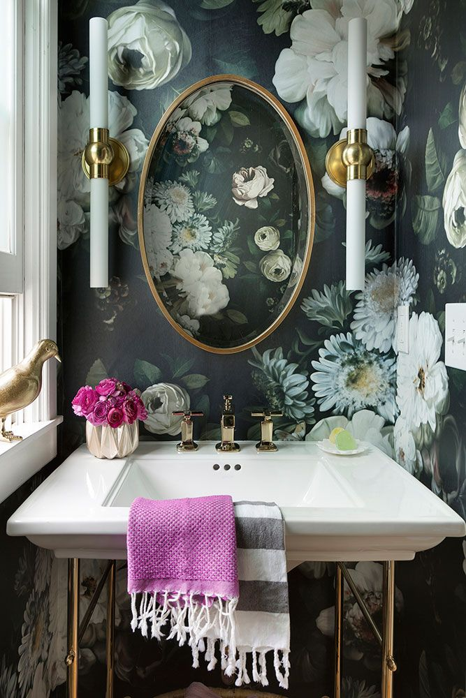 Urban Romantic powder room design with floral wallpaper | Lucy Interior Design