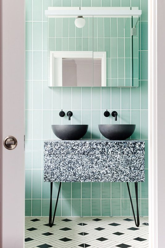 charcoal sinks, speckled vanity, pale mint wall tiles