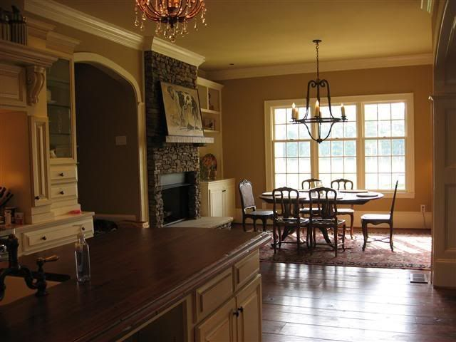 kitchen FP, breakfast area (add bench seating & possible homework station to right of FP)