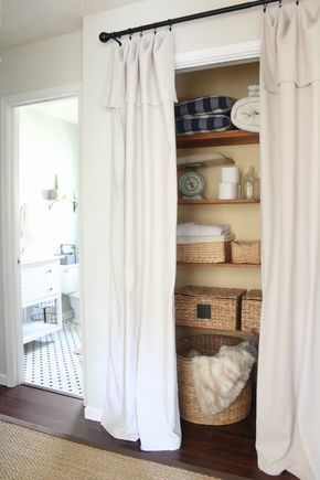 Simple Closet Door Alternative u Easy Drop Cloth Curtains