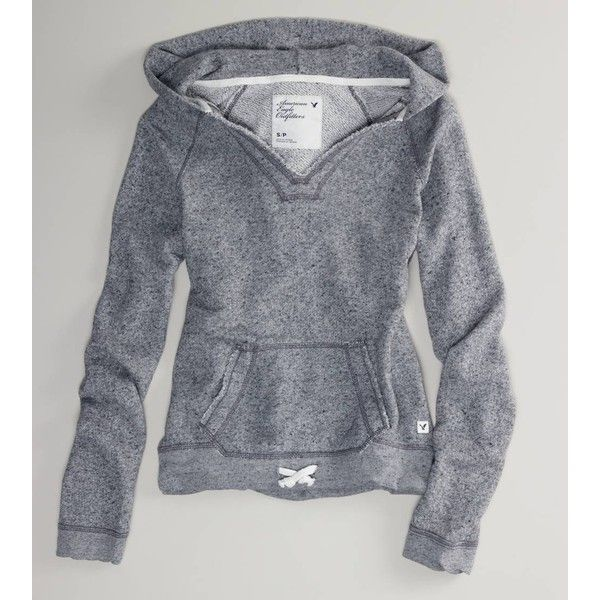 American Eagle Outfitters Ae French Terry Hooded Popover via Polyvore