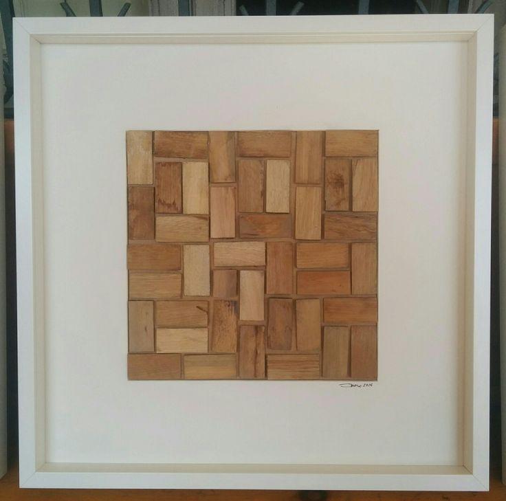 Modulo A3. Il quadro è stato preparato assemblando dei cunei di legno utilizzati dai posatori di parquet. Fra i cunei si è lasciato uno spazio in modo da rendere visibile la fuga.
