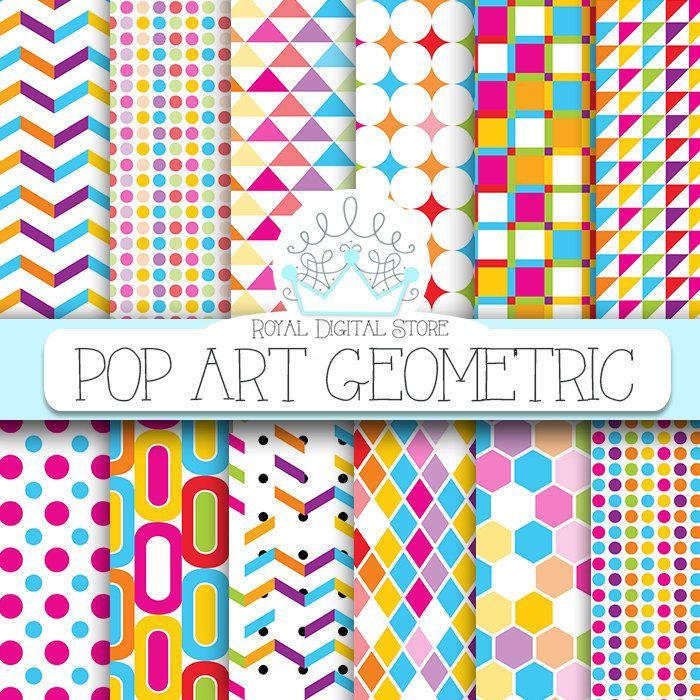 "Geometric digital paper: ""Pop Art Geometric Digital Paper"" with colorful geometric patterns, geometric background, geometric printable #summerdigitalkit #rainbow #planner #partysupplies #digitalpaper #scrapbookpaper #red #blue #yellow"