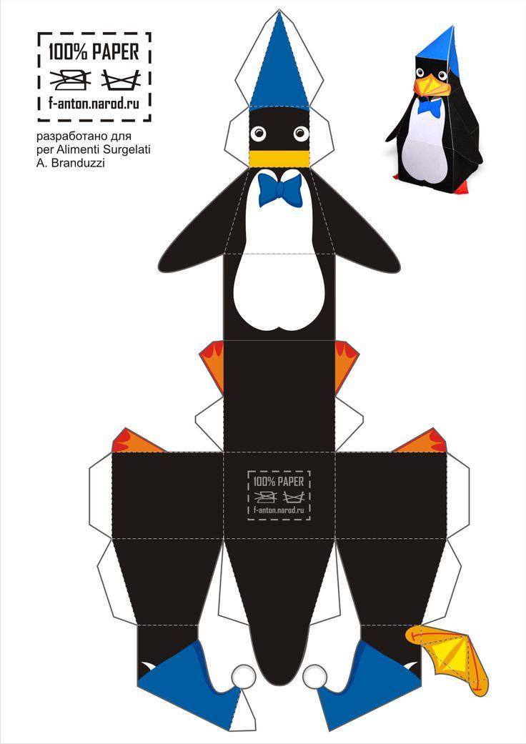 Бумажный пингвин - это талисман одного магазинчика торгующего заморожеными продуктами в Италии. А заодно это просто отличная игрушка.