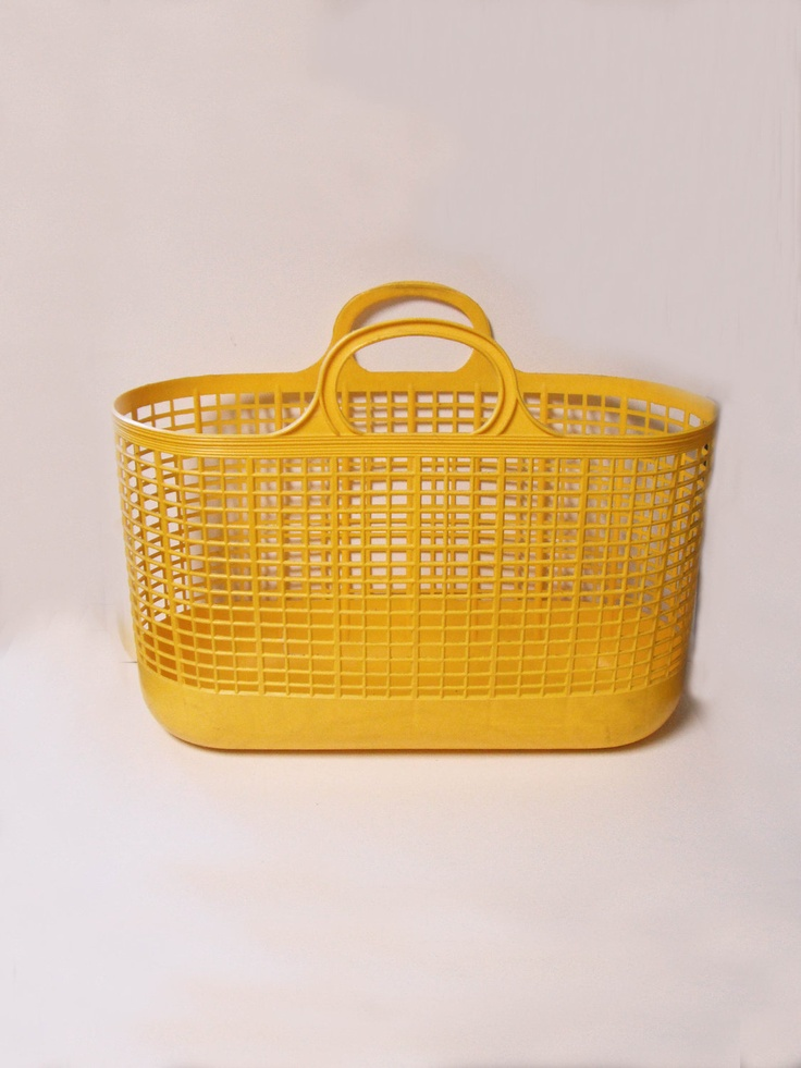 Vintage Rare Ingrid Mid Century Yellow Rubber Plastic Beach Bag ...
