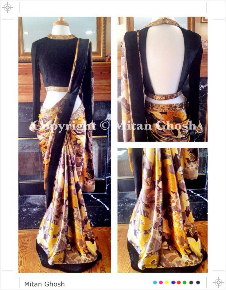 Printed satin saree with silk velvet blouse.