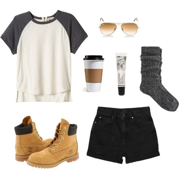 """""""College Outfit #2"""" by ohlookitsdonte on Polyvore Basic Tee, high waist black shorts, and timberland boots :)"""