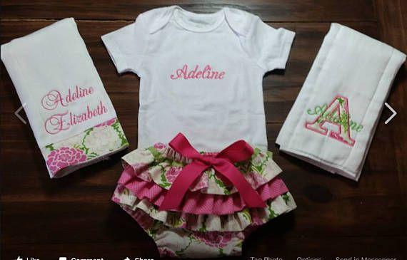 Baby Girl Gift Set Body Suit ruffle bloomers 2 burp cloths