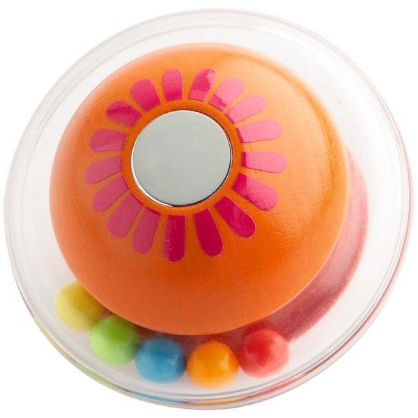 Haba 3935 - Drewniana Grzechotka Haba Click Clack z Lustereczkiem i Kulami wydającymi dźwięki dla dzieci od 6 miesięcy, dostępna w 2 kolorach: pomarańczowym i niebieskim.