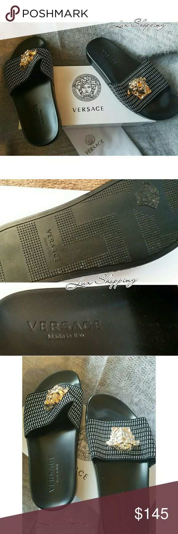 |SALE|  VERSACE MULE SLIP SANDAL |SALE|  VERSACE MULE SLIP SANDAL Summer is here, are you ready! Mix white & black custom slides Signature Gold Medusa finishing touches Rubber upper /Rubber sole  BRAND NEW  Made in Italy (Run slightly big order down a size) Versace Shoes Sandals