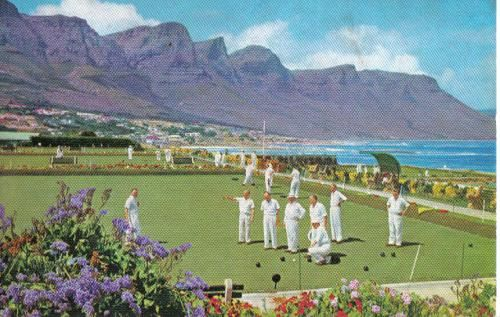 Playing bowls - a popular sport in South Africa. Card sent to Germany.