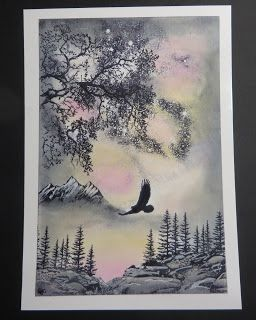 handmade card by BJCrafty ... mountain scene using Stampscape cards ... luv the moody sky in gray, pink and yellow ...