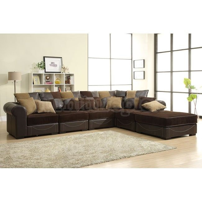 6 Pc Lamont Collection 2 Tone Chocolate Corduroy And Bi Cast Vinyl  Upholstered Modular Sectional Sofa Set With Rounded Arms And Throw Pillow  Backs Part 75