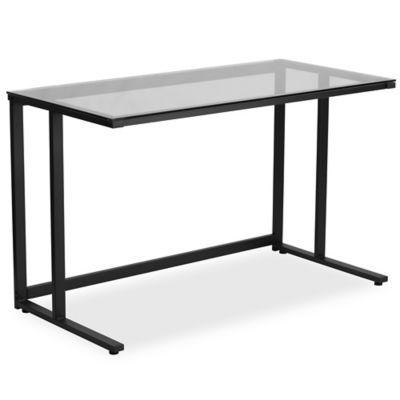 Flash Furniture Glass Desk With Black Pedestal Frame Clear Glass