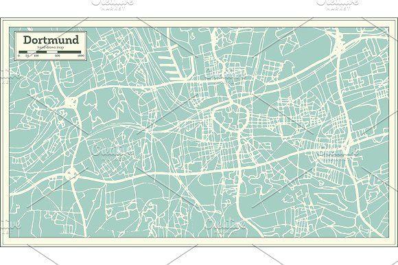 dortmund germany city map in retro by igor sorokin on