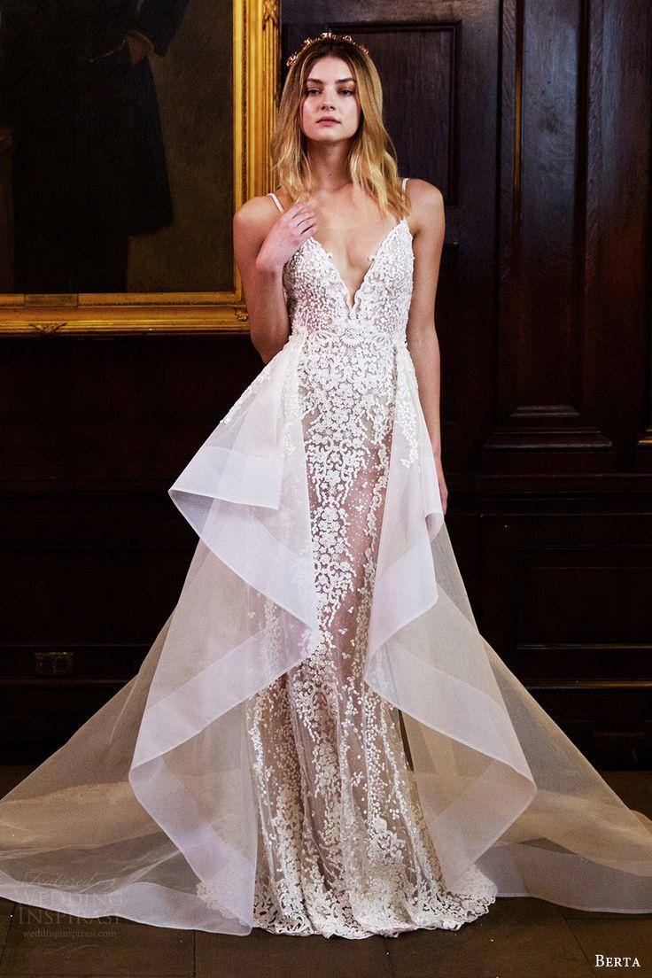 berta bridal fall 2016 sleeveless vneck straps trumpet wedding dress overskirt (16 108) mv
