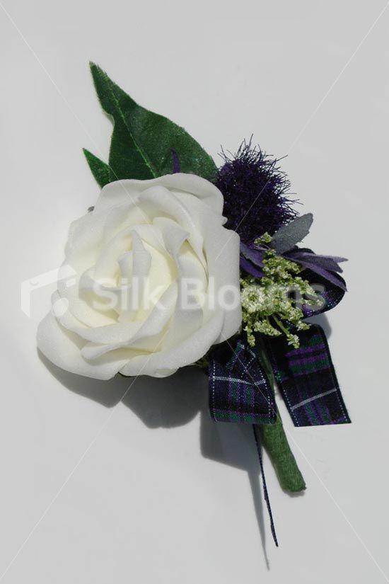 Artificial Rose & Thistle Grooms Wedding Buttonhole w/ Tartan