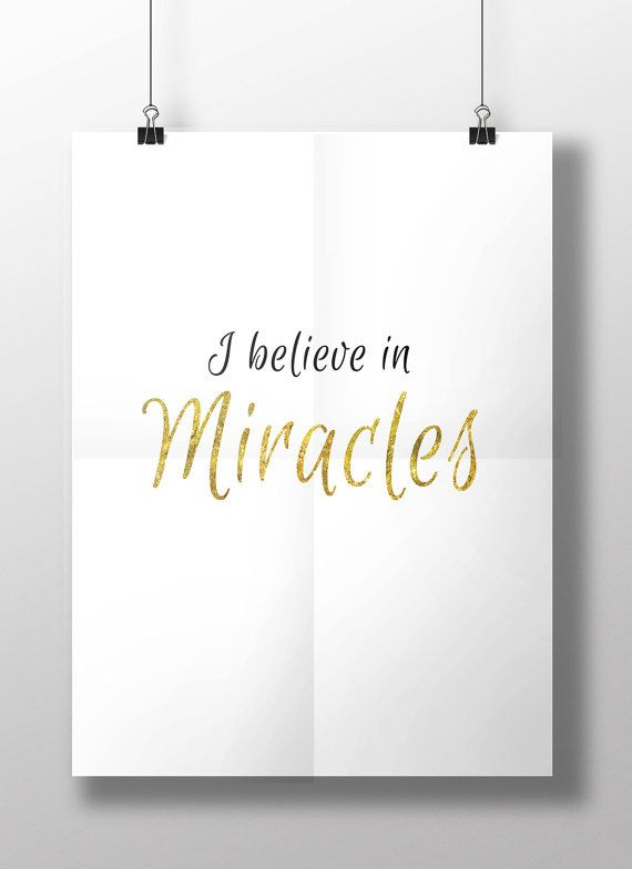 """Religious Art Quote, """"I Believe In Miracles"""" Printable Quote, Gold Glitter Wall Decor For A Girls Bedroom. Product Code: MP-2899"""