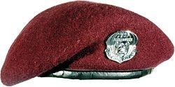 The maroon beret of a pararescueman.