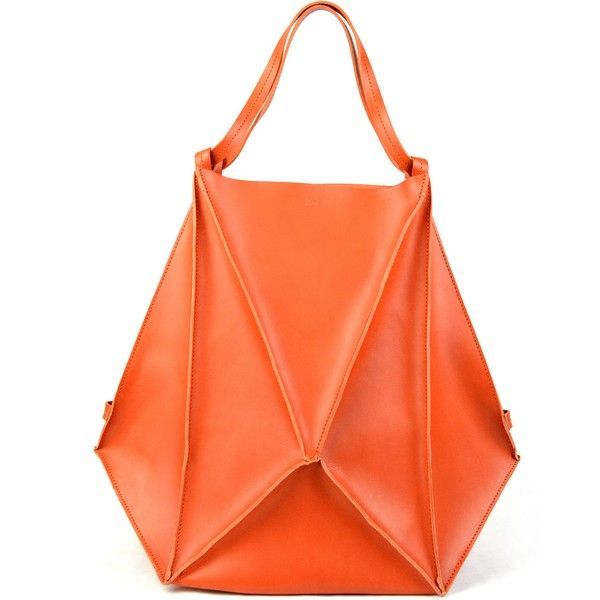 ANIMAdVERTE Prisma Leather Bag - Orange ($535) ❤ liked on Polyvore featuring bags, black, orange backpack, leather backpack, leather backpack bag, backpack bags and genuine leather bags