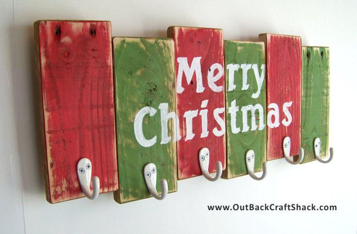 Christmas Stocking Hanger; Reclaimed Wood Christmas Decoration; 6 Hook Stocking Holder; Rustic Decor; Shabby Chic Decor; Christmas Decor by OutbackCraftShack on Etsy https://www.etsy.com/listing/212865191/christmas-stocking-hanger-reclaimed-wood