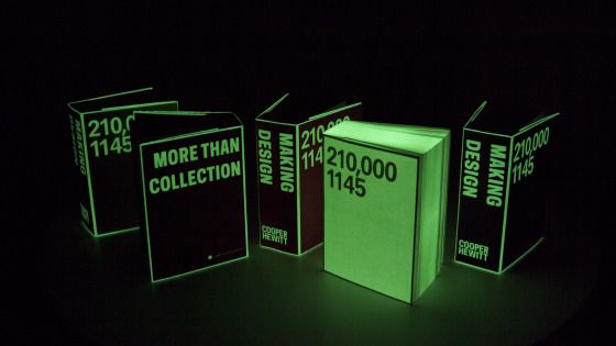 Cooper Hewitt book - Designed by Irma Boom, over 900 pages. Available in two editions—one edition in red, black, and yellow; and a limited edition available only at Cooper Hewitt SHOP in neon pink and glow in the dark (all jackets printing with glow in the dark ink), the book embodies design process.